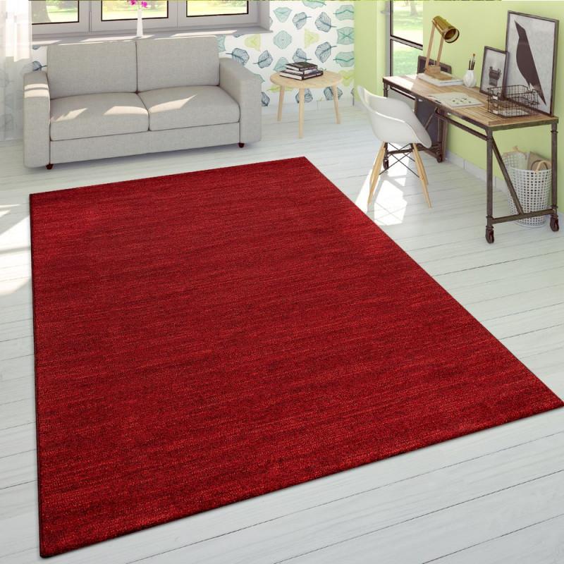 Kurzflor Teppich Einfarbig Rot Wohnzimmer von Teppich Wohnzimmer Rot Photo