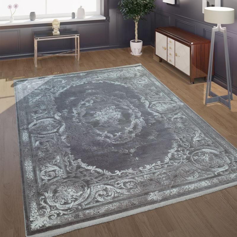 Kurzflor Teppich Florale Ornamente Grau von Wohnzimmer Teppich Grau Kurzflor Bild
