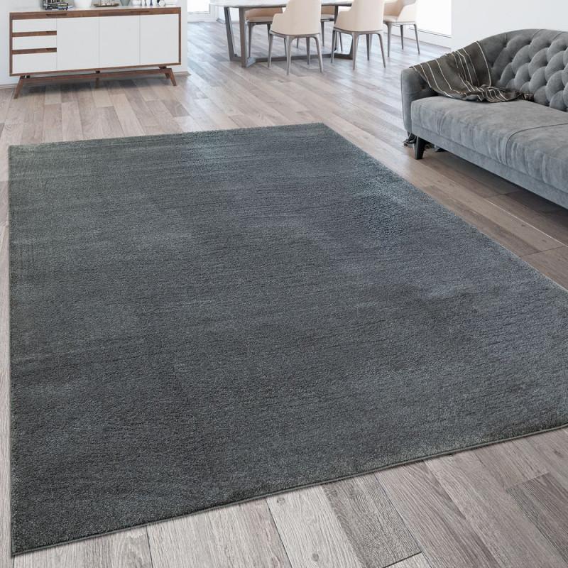 Kurzflor Teppich Waschbar Einfarbig Anthrazit von Wohnzimmer Teppich Grau Kurzflor Photo