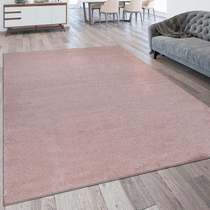 Kurzflor Teppich Waschbar Einfarbig Rosa von Teppich Wohnzimmer Kurzflor Bild