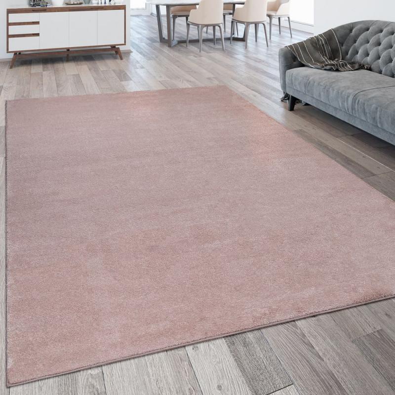 Kurzflor Teppich Waschbar Einfarbig Rosa von Wohnzimmer Teppich Waschbar Bild