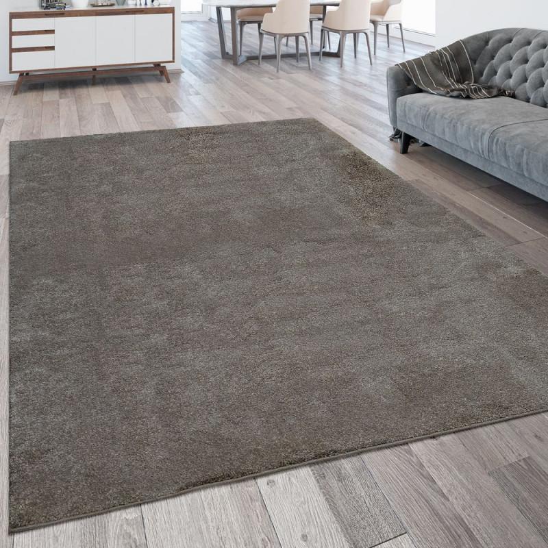 Kurzflor Teppich Waschbar Einfarbig Taupe von Teppich Wohnzimmer Groß Photo