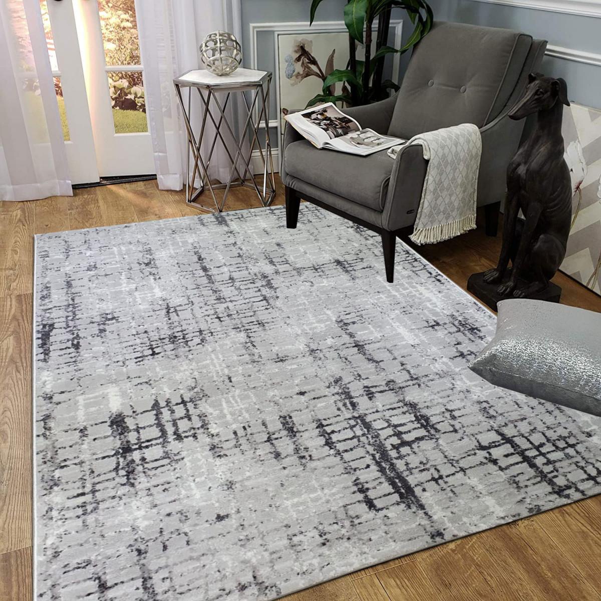 Kurzflor Teppich Wohnzimmer Grau Modern Läufer Flur Küche Hellgrau Designer von Teppich Wohnzimmer Grau Photo
