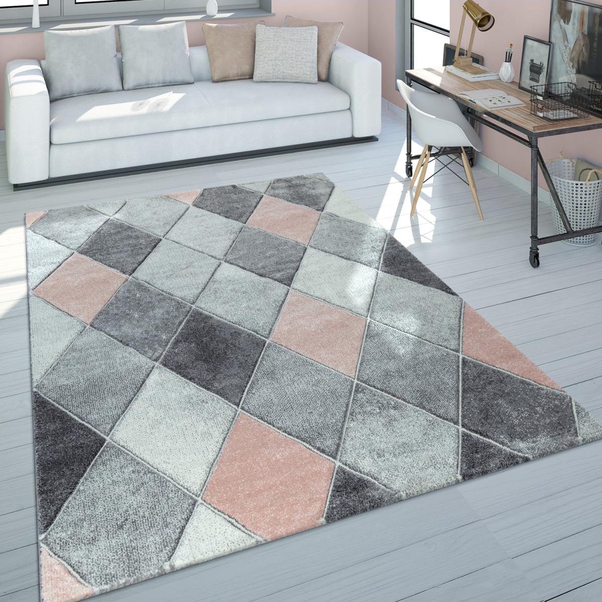 Kurzflor Teppich Wohnzimmer Rosa Grau Pastellfarben Rauten Muster 3D Design von Wohnzimmer Teppich Grau Rosa Bild