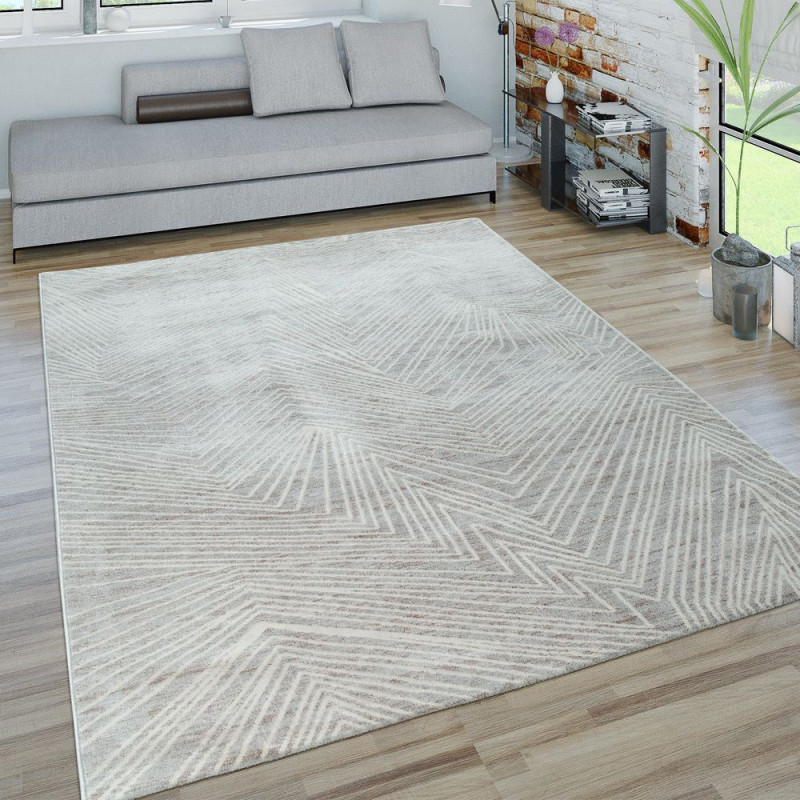 Kurzflor Wohnzimmer Teppich 3D Zick Zack Muster von Teppich Wohnzimmer Weiß Bild