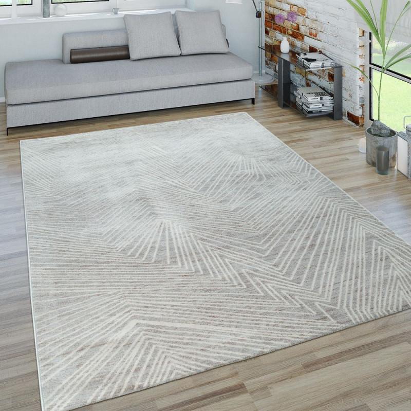 Kurzflor Wohnzimmer Teppich 3D Zick Zack Muster von Weisser Teppich Wohnzimmer Bild