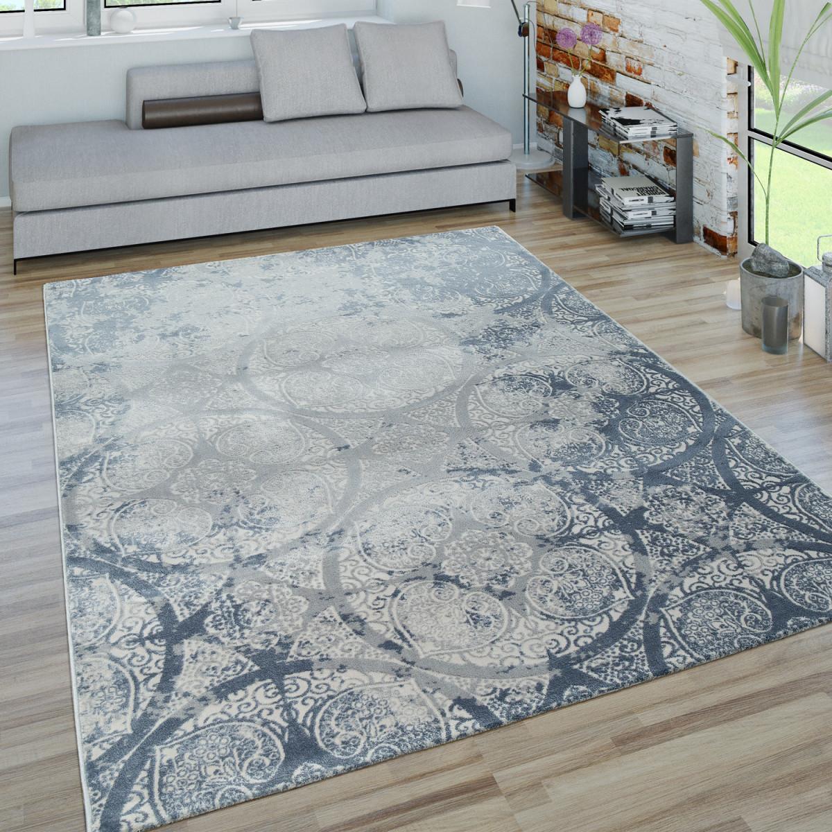 Kurzflor Wohnzimmer Teppich 3Doptik Ornamente Geometrisches Design In Blau  Grau von Blau Teppich Wohnzimmer Bild