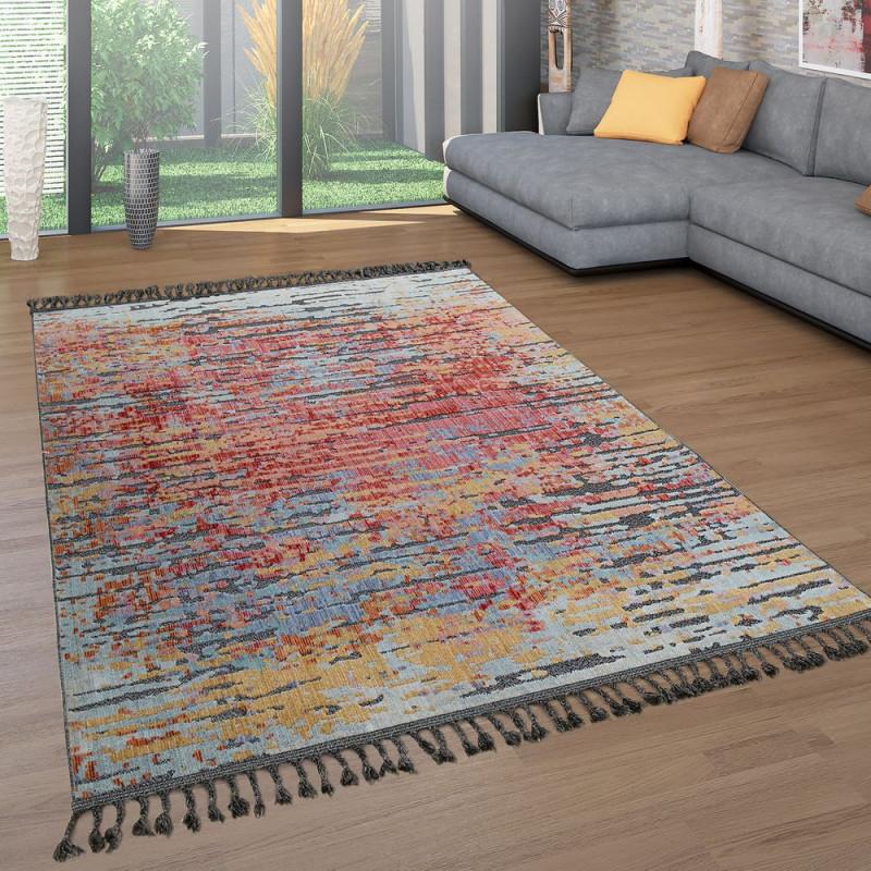 Kurzflor Wohnzimmer Teppich Ethno Design 3D Look von Teppich Vorleger Wohnzimmer Bild