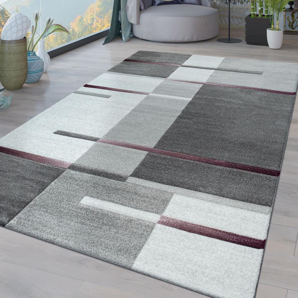 Kurzflor Wohnzimmer Teppich Karo Muster Lila von Wohnzimmer Teppich Grau Kurzflor Bild