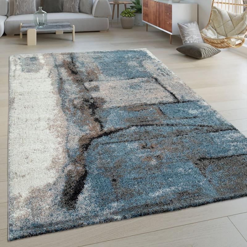 Kurzflor Wohnzimmer Teppich Stein Muster von Wohnzimmer Teppich Blau Bild