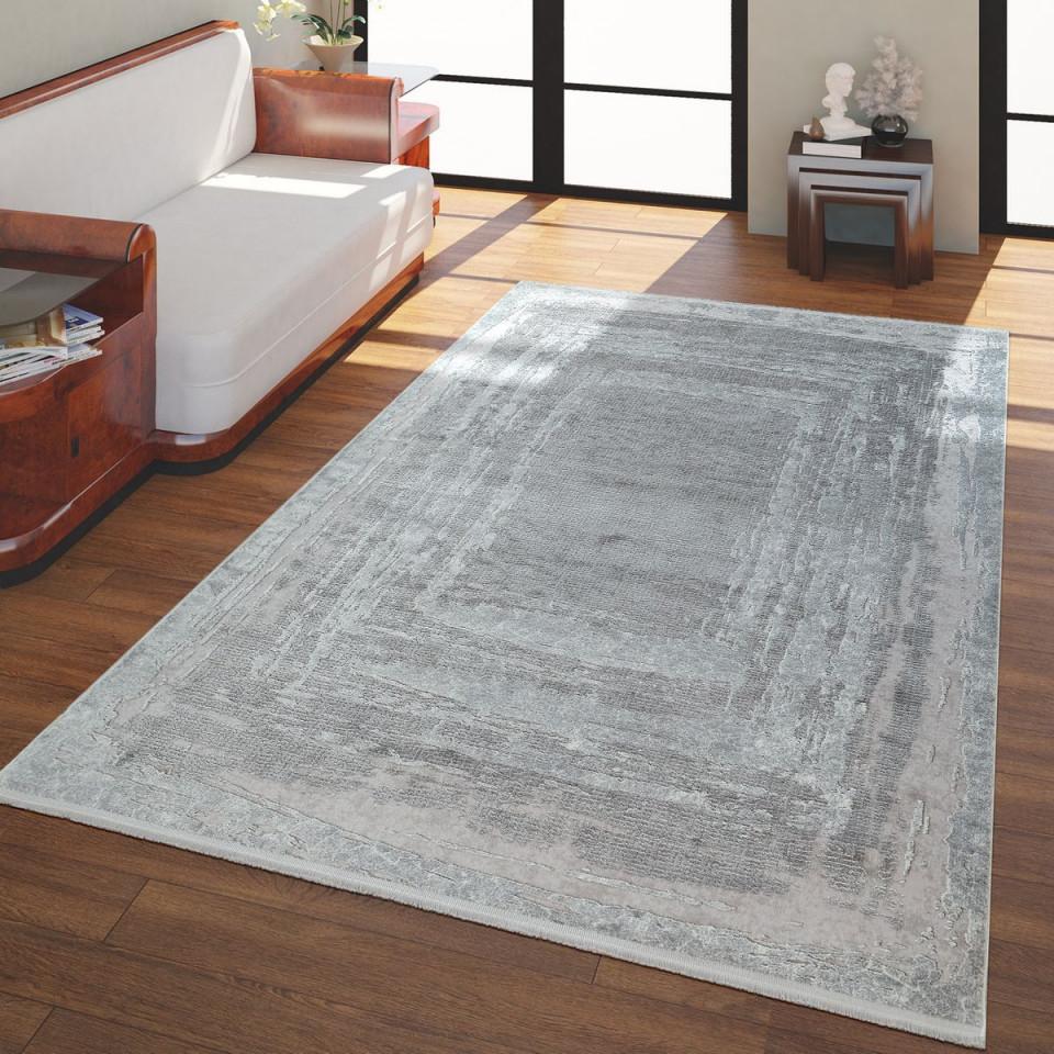 Kurzflor Wohnzimmer Teppich Vintage Look Grau von Teppich Grau Wohnzimmer Bild