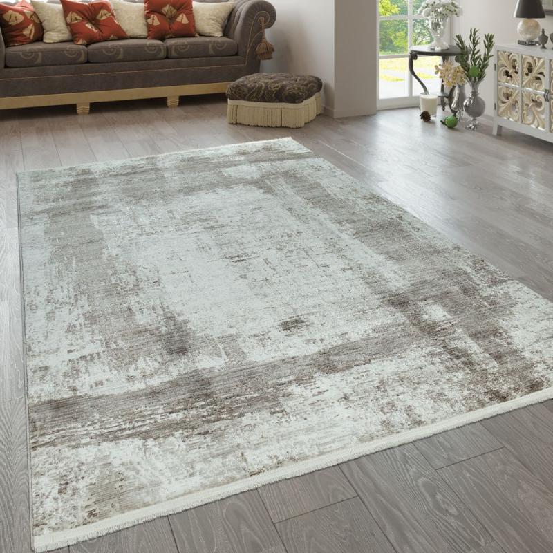 Kurzflorteppich Abstraktes Muster Beige Braun  Abstraktes von Wohnzimmer Teppich Braun Beige Bild