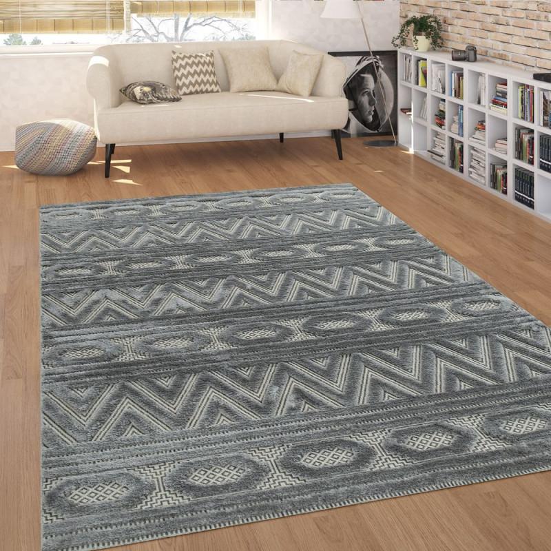 Kurzflorteppich Ethnodesign von Pflegeleichter Teppich Wohnzimmer Photo