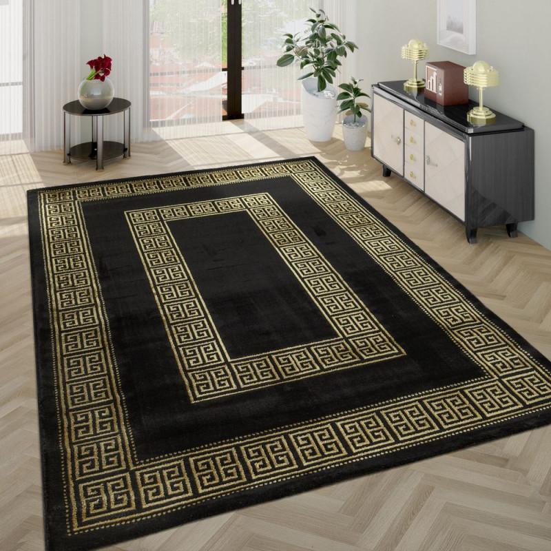 Kurzflorteppich Goldene Bordüre Schwarz von Wohnzimmer Teppich Schwarz Bild