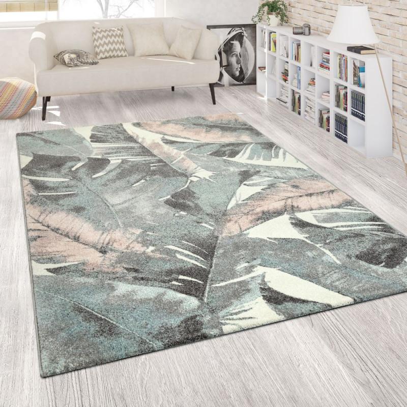 Kurzflorteppich Palmenmotiv Grün von Teppich Wohnzimmer Grün Photo