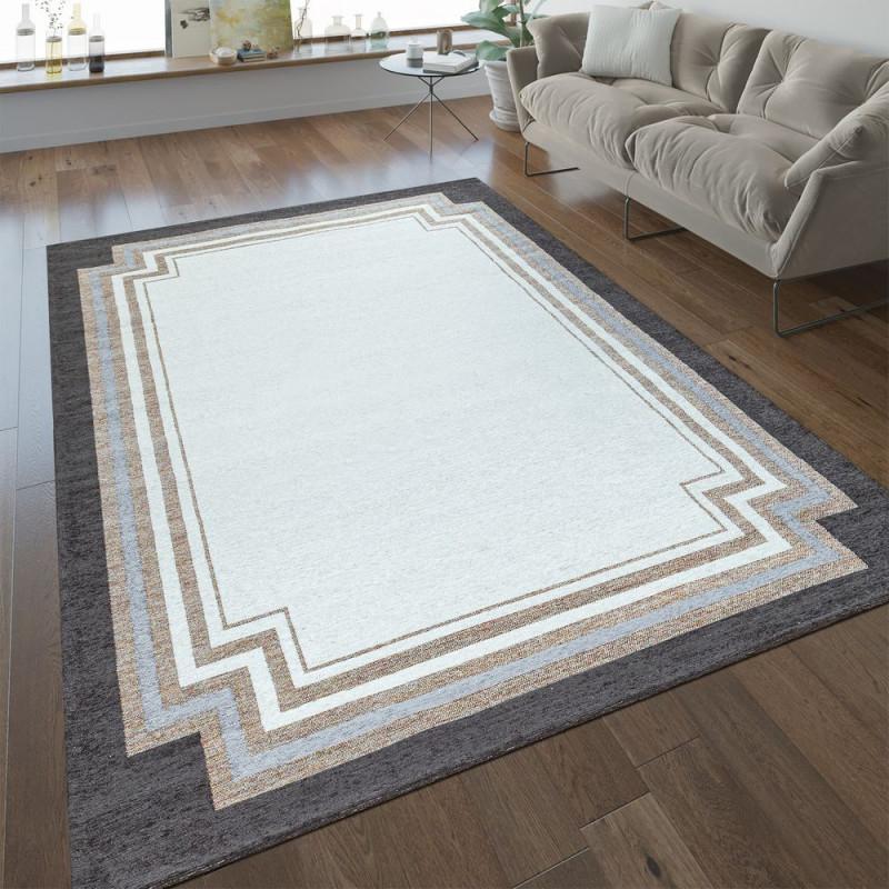 Kurzflorteppich Wohnzimmer Bordüre In Beige von Wohnzimmer Teppich Weiß Bild