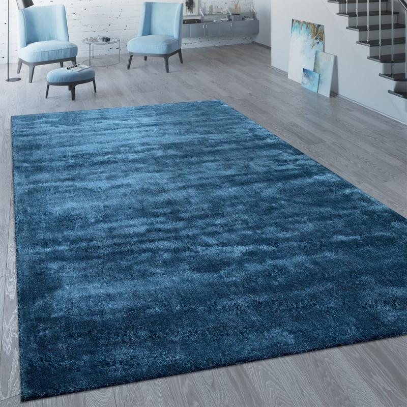 Kurzflorteppich Wohnzimmer Modern von Teppich Blau Wohnzimmer Bild