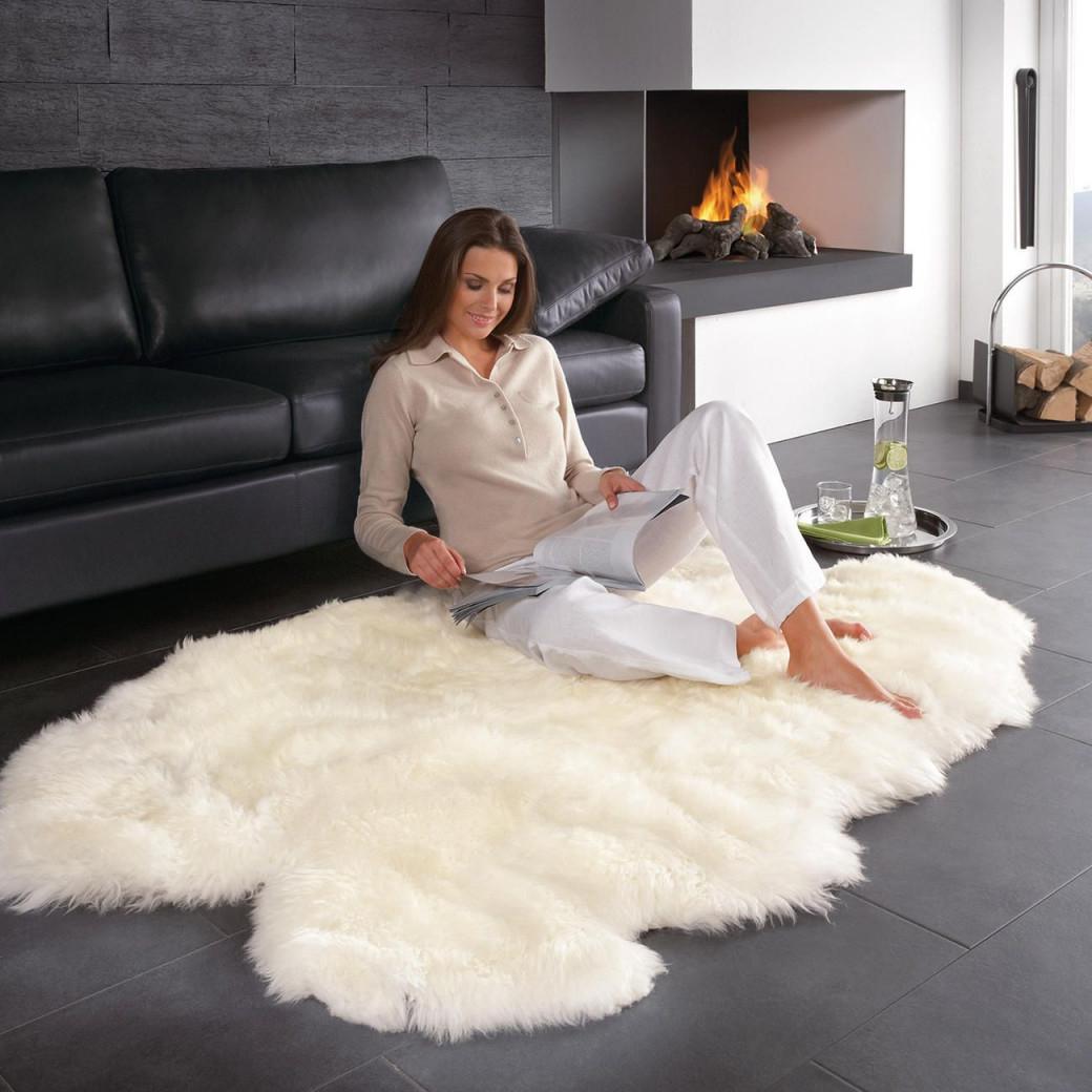 Lammfellteppich  160 X 100 Cm Groß Und Sogar von Teppich Groß Wohnzimmer Bild