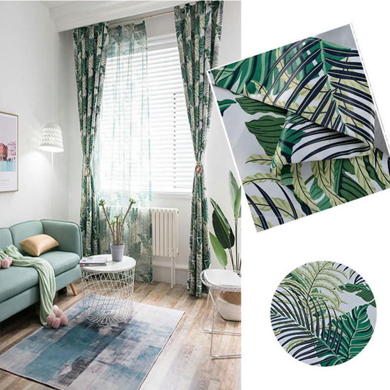 Landhaus Vorhang Grün Blätter Im Wohnzimmer von Gardinen Wohnzimmer Grün Bild
