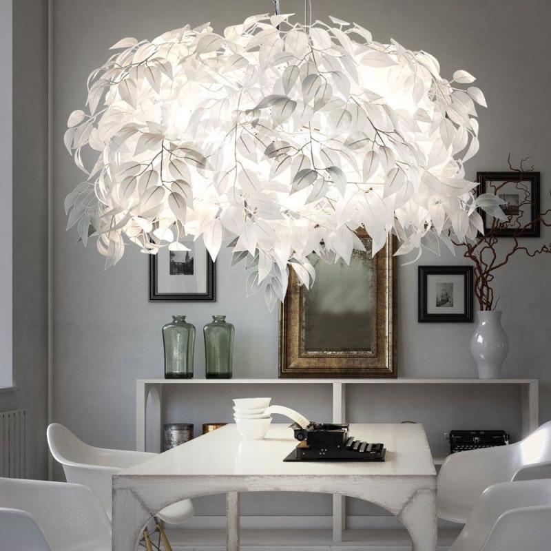 Led Blätter Design Pendel Leuchte Wohn Ess Zimmer Äste von Wohnzimmer Lampe Weiß Photo