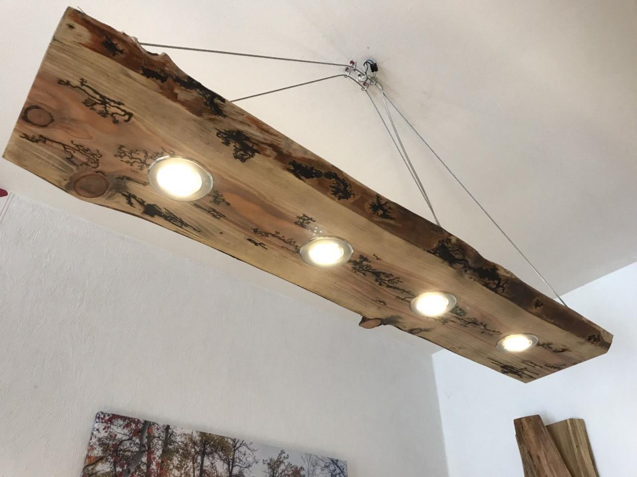 Led Decken Holz Lampe Rustikal 120Cm 4X 7W Massivholz von Wohnzimmer Lampe Holzbalken Photo