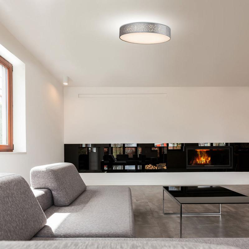 Led Deckenlampe Rund Textil Grausilber D 40 Cm Tarok von Deckenlampe Für Großes Wohnzimmer Photo