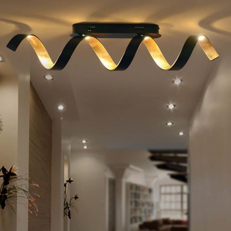 Led Deckenleuchte Helix In Schwarz Und Gold 20W 1800Lm von Deckenleuchte Wohnzimmer Gold Bild