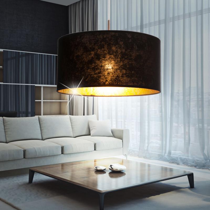 Led Design Pendelleuchte Aus Textil In Schwarzgold Amy von Wohnzimmer Lampe Schwarz Gold Bild