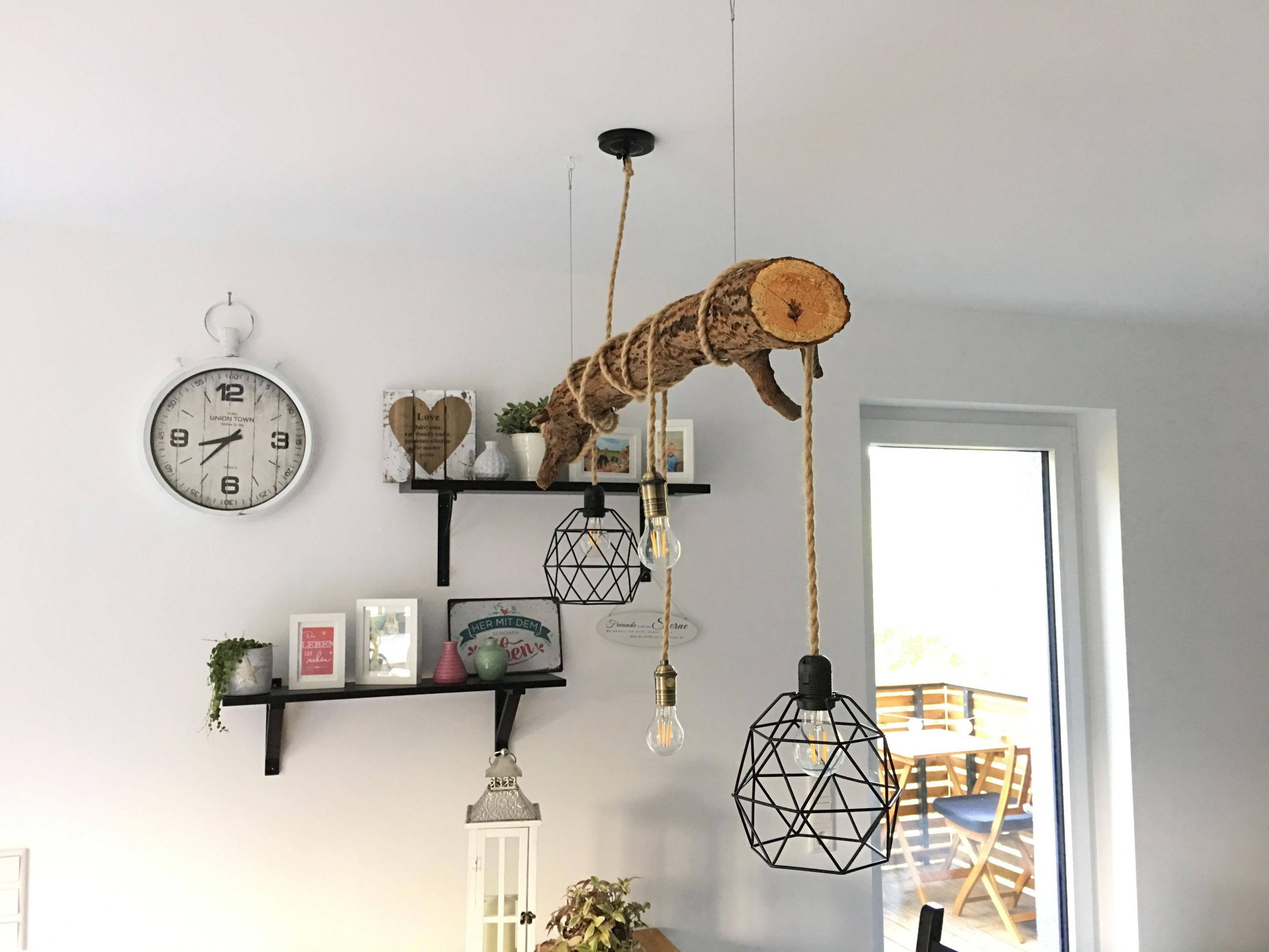 Led Lampe Holz Ast Vintage Esstisch Diy Wood  Lampe Holz von Wohnzimmer Lampe Holzbalken Photo