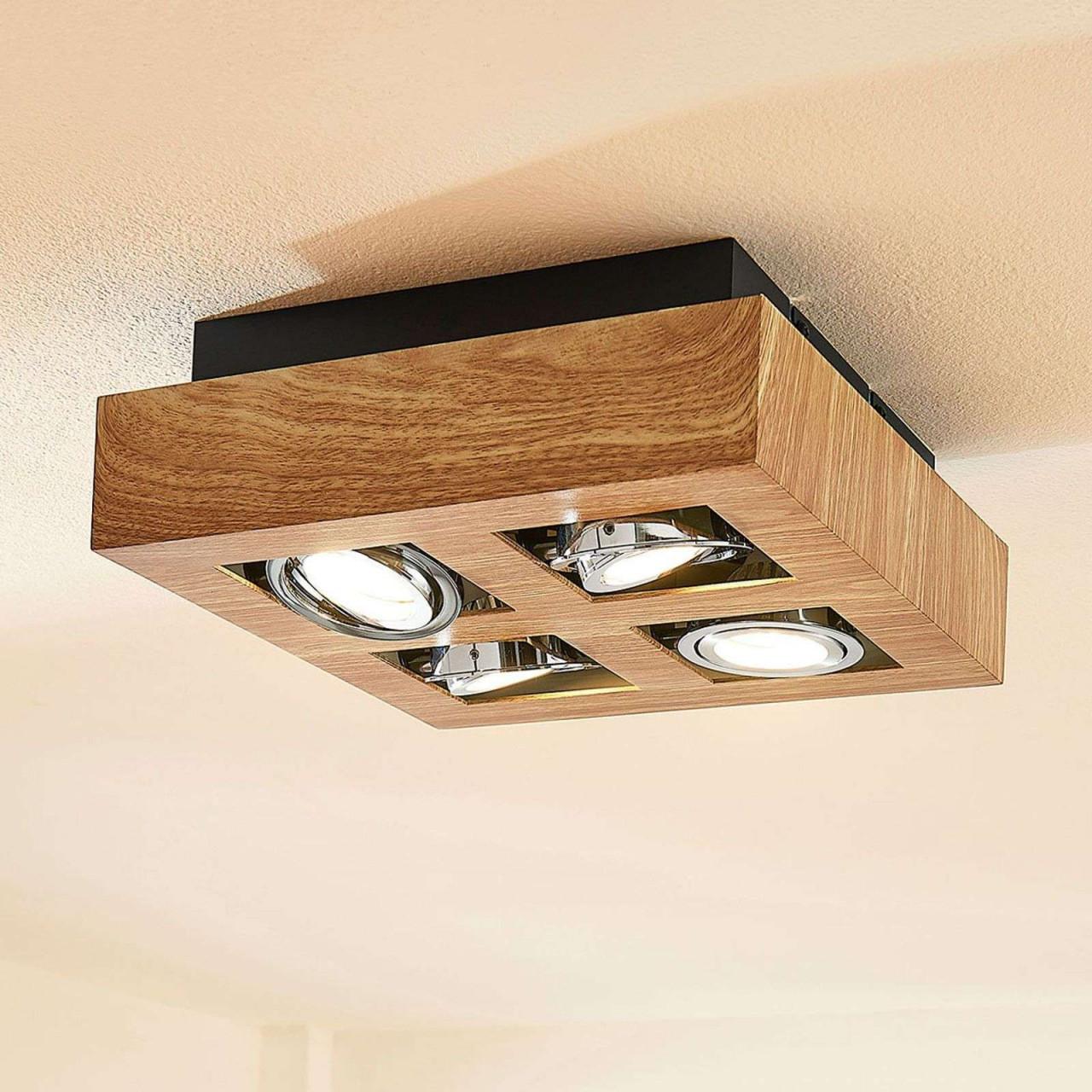 Led Plafondlamp Vince 25X25Cm In Houtoptiek Van Lampenwelt von Deckenlampe Wohnzimmer Groß Photo