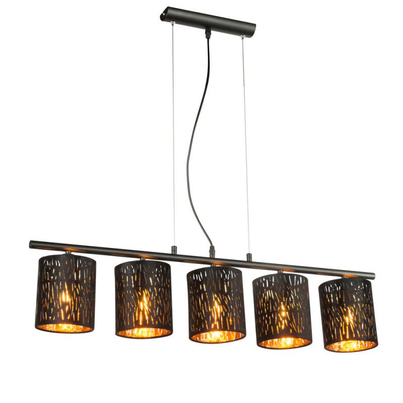Led Textil Decken Hänge Lampe Wohnzimmer Beleuchtung Pendel von Wohnzimmer Lampe Schwarz Gold Bild