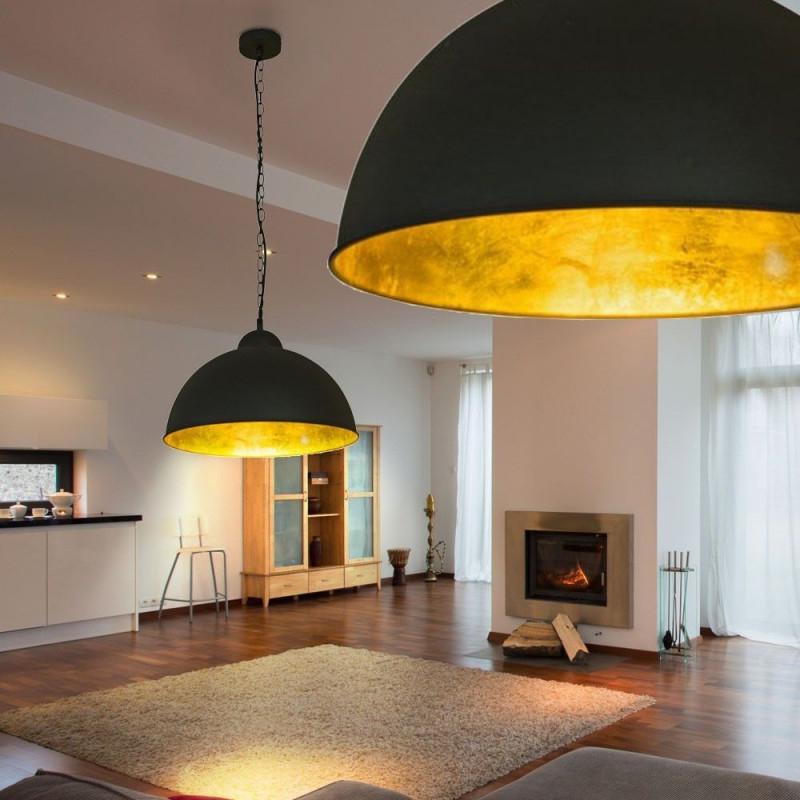 Leddeckenlampeø40Cmschwarzgoldloftdesignindustrie von Wohnzimmer Lampe Schwarz Bild