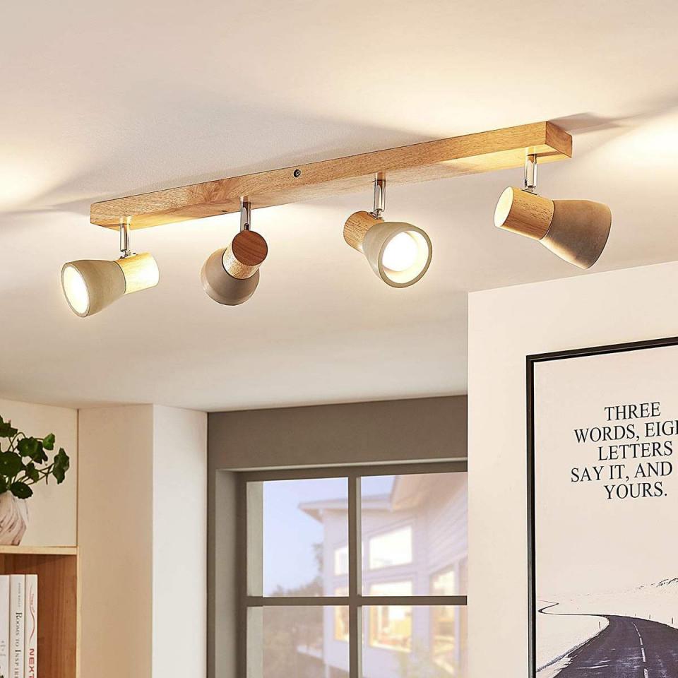 Ledstrahler Filiz Aus Holz Und Beton 4Flammig  Led von Deckenleuchte Wohnzimmer Holz Photo