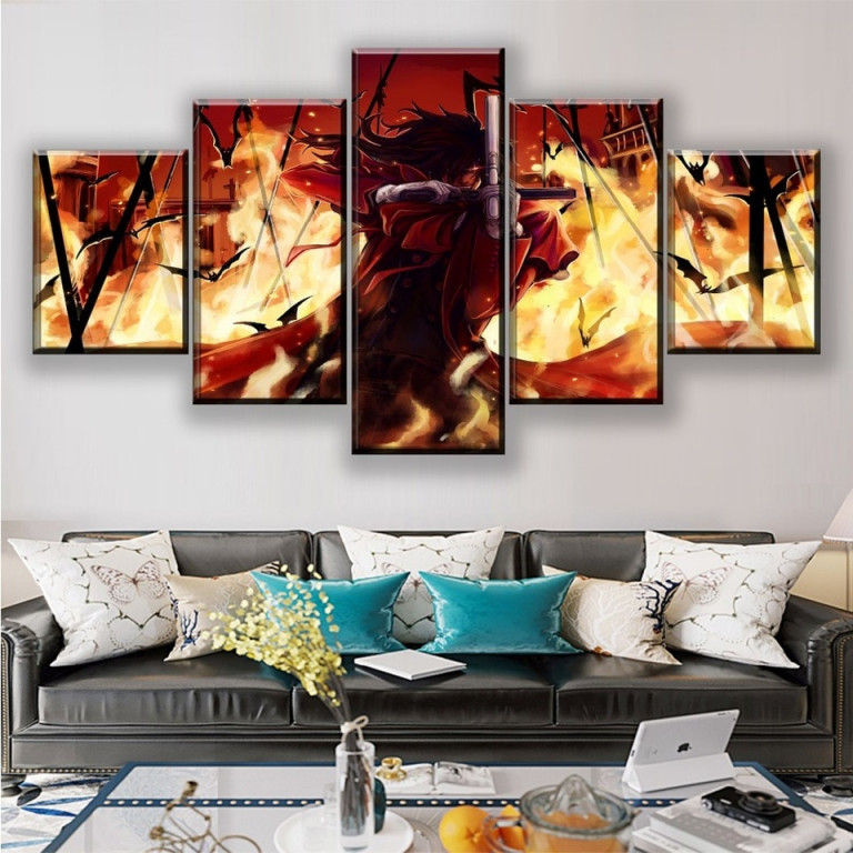 Leinwand Poster Wohnzimmer Decor Rahmen 5 Stück Alucard Dark Anime Hellsing  Malerei Modulare Wand Art Hd Druckt Bilder von Bilder Wohnzimmer Mit Rahmen Photo