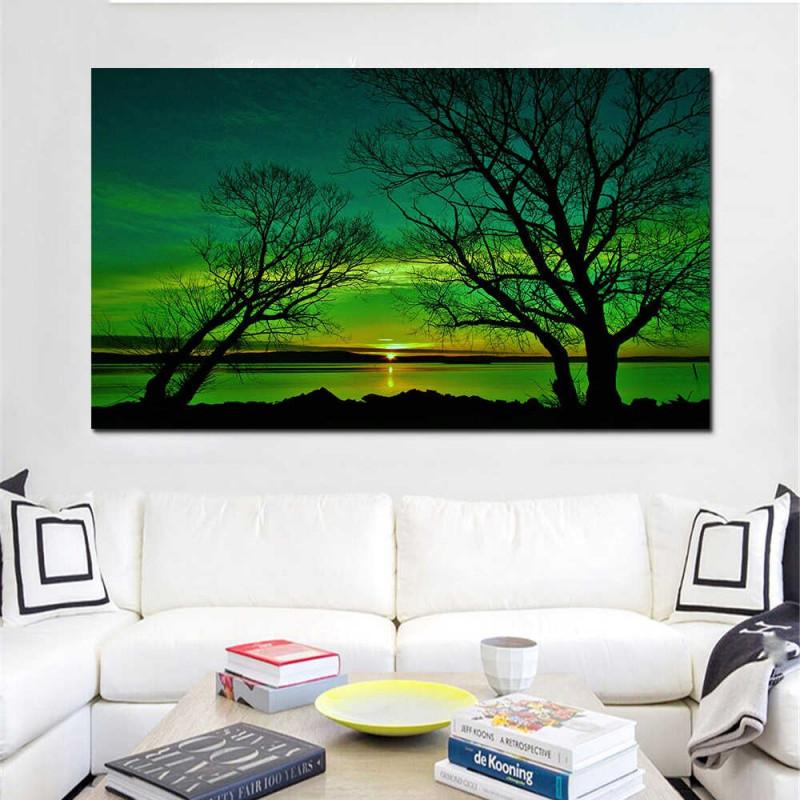 Leinwand Wand Kunst Bilder Moderne Gerahmte Wohnzimmer Hd Print Poster Grün  Töne Lakeside Landschaft Malerei Modulare Hause Dekoration von Gerahmte Bilder Für Wohnzimmer Photo