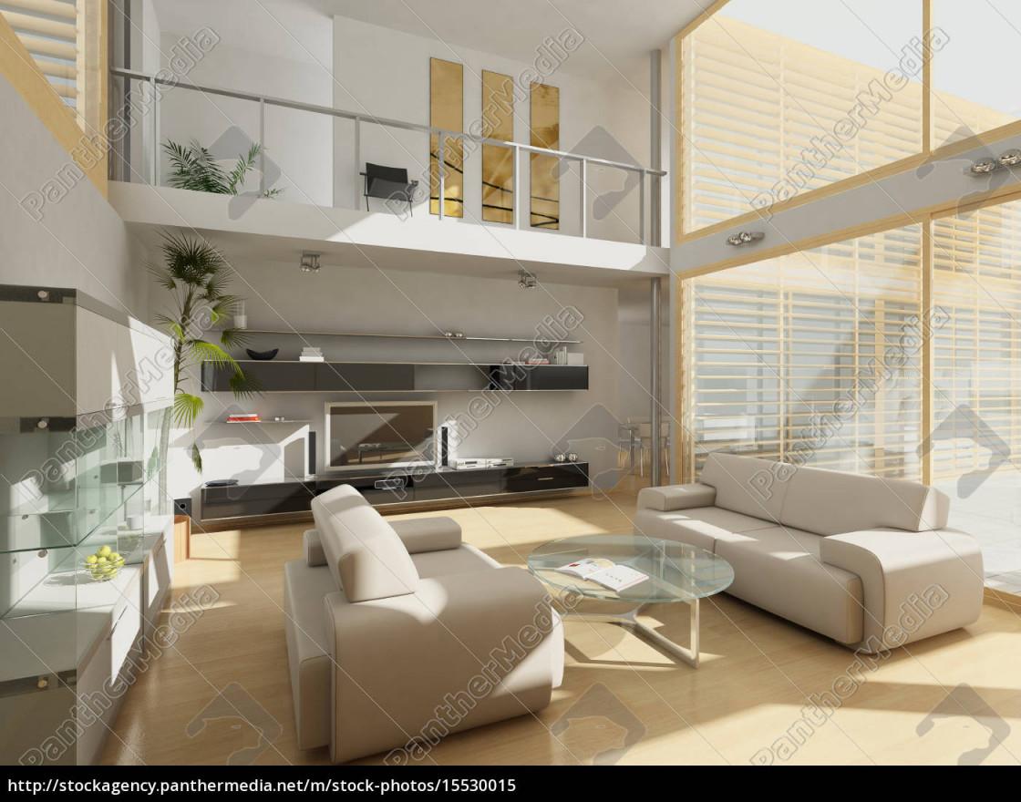Lizenzfreies Bild 15530015  Modernes Wohnzimmer Mit Großen von Modernes Wohnzimmer Bilder Bild