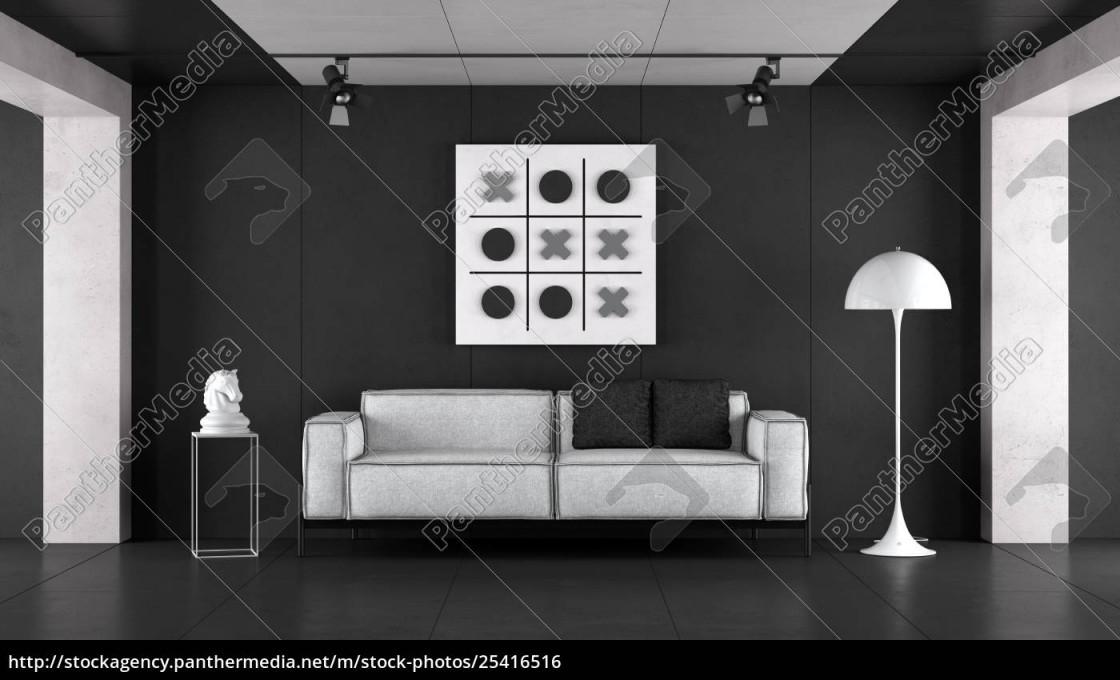 Lizenzfreies Foto 25416516  Minimalist Schwarz Weiß Wohnzimmer von Schwarz Weiß Bilder Wohnzimmer Photo