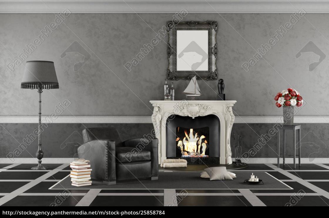 Lizenzfreies Foto 25858784  Schwarz Weiß Klassiker Wohnzimmer Mit Kamin von Wohnzimmer Bilder Schwarz Weiß Photo