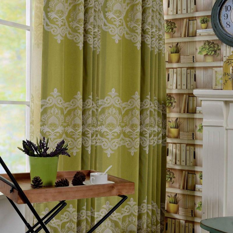 Lucxus Vorhang Grün Blumen Jacquard Im Wohnzimmer von Gardinen Wohnzimmer Grün Photo