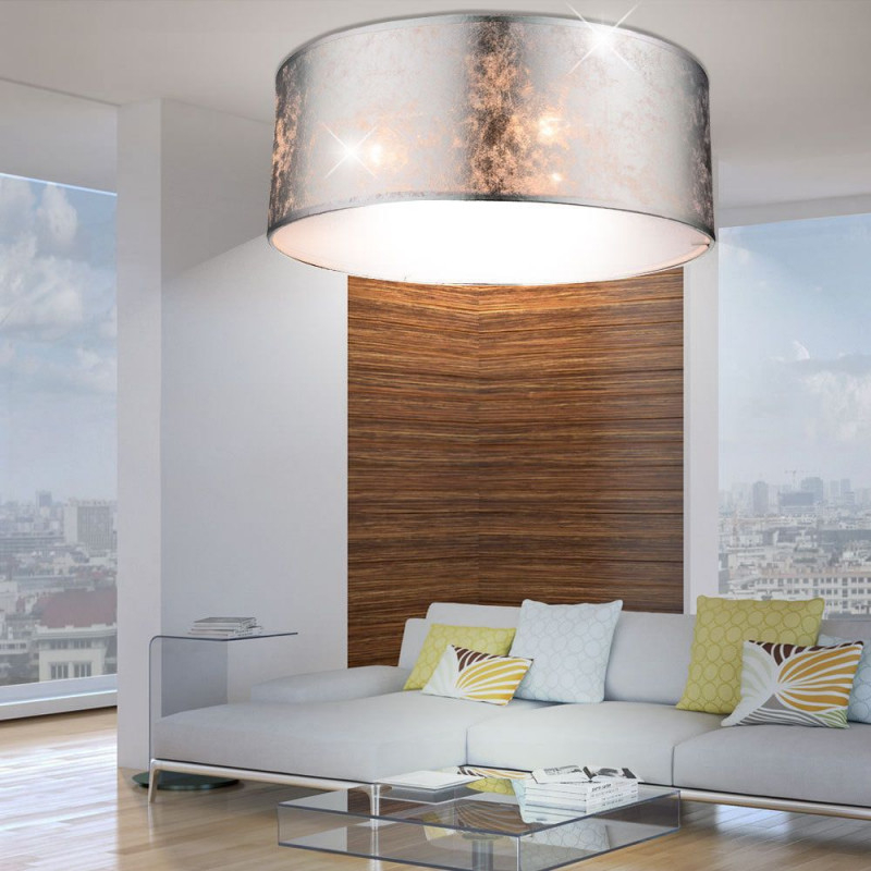 Luxus Decken Leuchte Stoff Schirm Lampe Silber Glänzend von Wohnzimmer Lampe Silber Bild