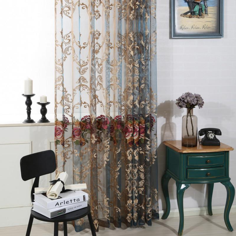 Luxus Gardinen Mit Blumen Stickerei Für Wohnzimmer (1Er Pack) von Luxus Gardinen Wohnzimmer Bild