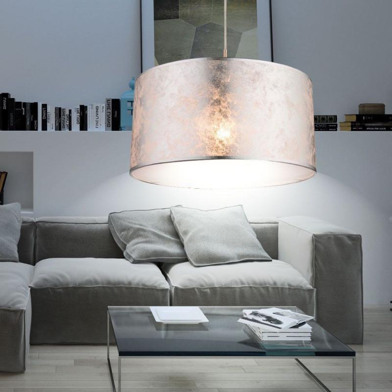 Luxus Hänge Leuchte Küchen Tisch Pendel Beleuchtung Stoff von Wohnzimmer Lampe Silber Photo