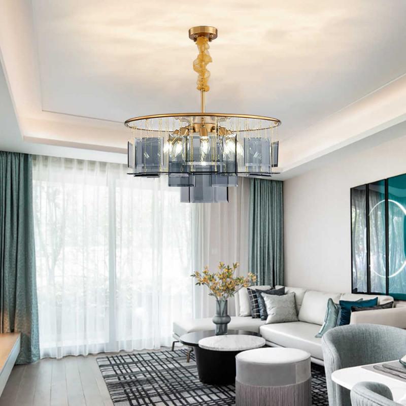 Luxus Ringförmige Kronleuchter Mit Bule Glas Led Innen Licht von Wohnzimmer Lampe Hängend Led Photo