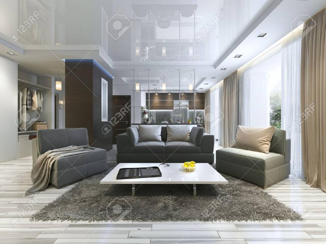 Luxuswohnzimmerstudio In Einem Modernen Stil Mit Bequemen Sesseln Und  Einem Sofa In Olivgrün Studiowohnung Mit Küche Und Wohnzimmer Und Einen  Flur von Luxus Wohnzimmer Bilder Photo