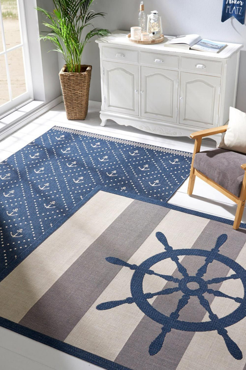 Maritimer Teppich Nicht Nur Für Balkon Oder Terrasse  Blau von Teppich Maritim Wohnzimmer Bild