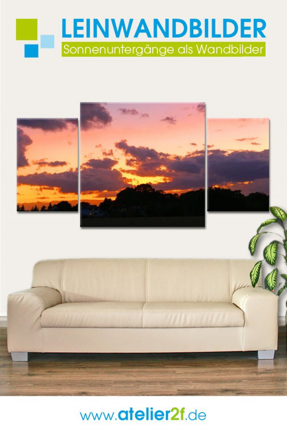 Mehrteilige Leinwandbilder Wohnzimmer  Sonnenuntergang von Bilder Wohnzimmer Mehrteilig Bild