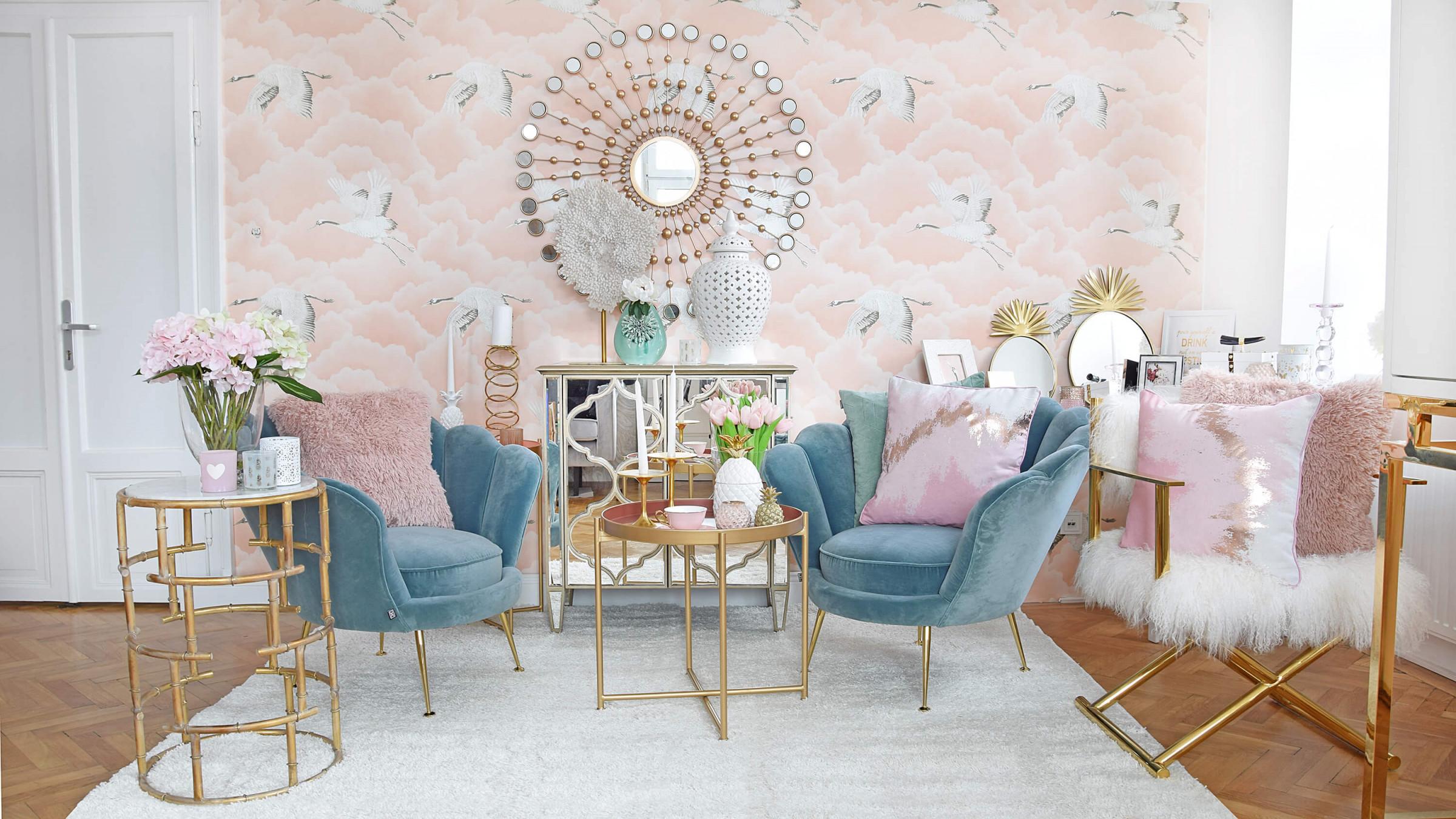 Mermaid Dreams  Wohnzimmerlounge In Rosa  Türkisblau  Looks von Goldene Deko Wohnzimmer Bild