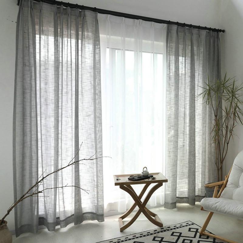 Minimalismus Gardine Grau Unifarbe Im Wohnzimmer Zu von Gardinen Wohnzimmer Grau Photo