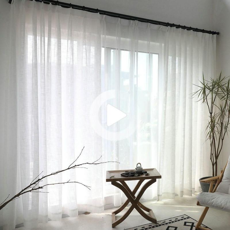 Minimalismus Gardine Weiß Unifarbe Im Wohnzimmer In 2020 von Weiße Gardinen Wohnzimmer Bild