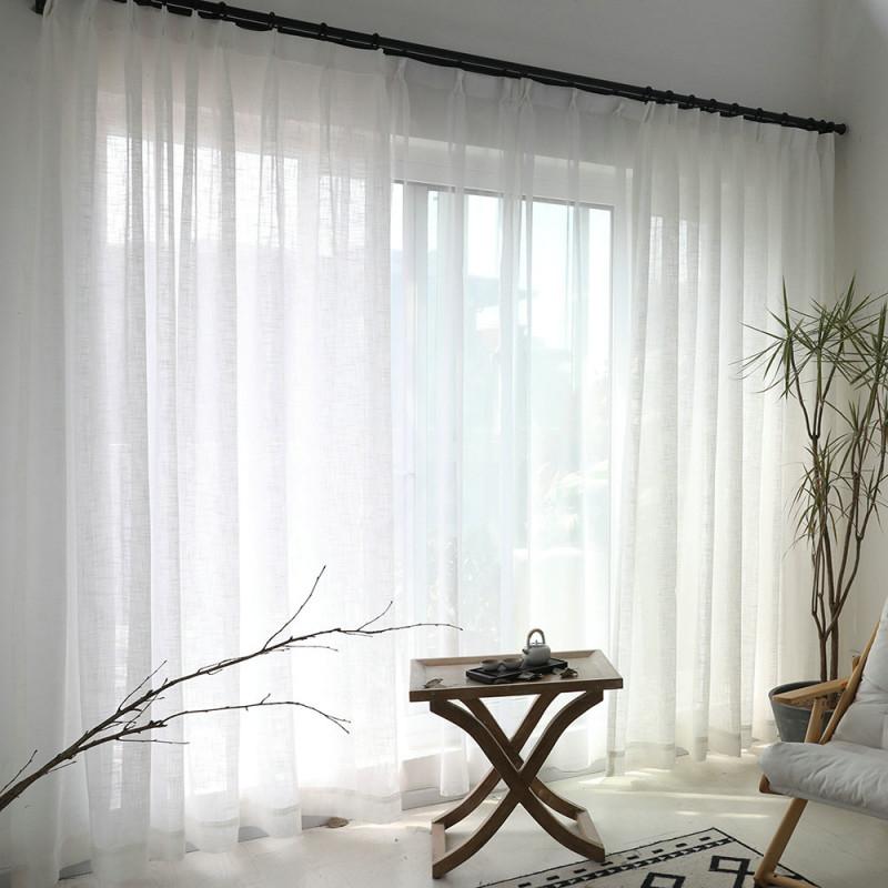 Minimalismus Gardine Weiß Unifarbe Im Wohnzimmer von Gardinen Weiß Wohnzimmer Bild